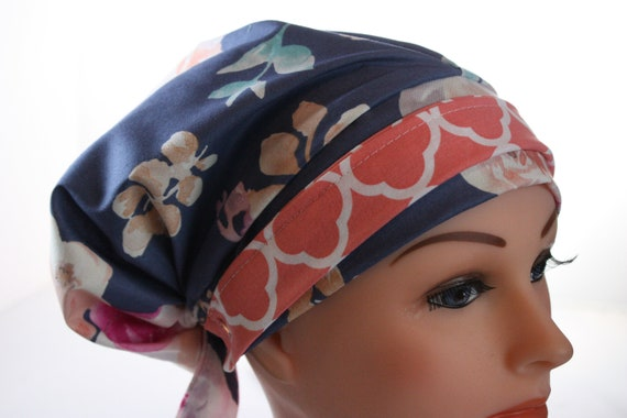 Scrub Cap Surgical Hat Boho Pixie Style Tie Back Antique