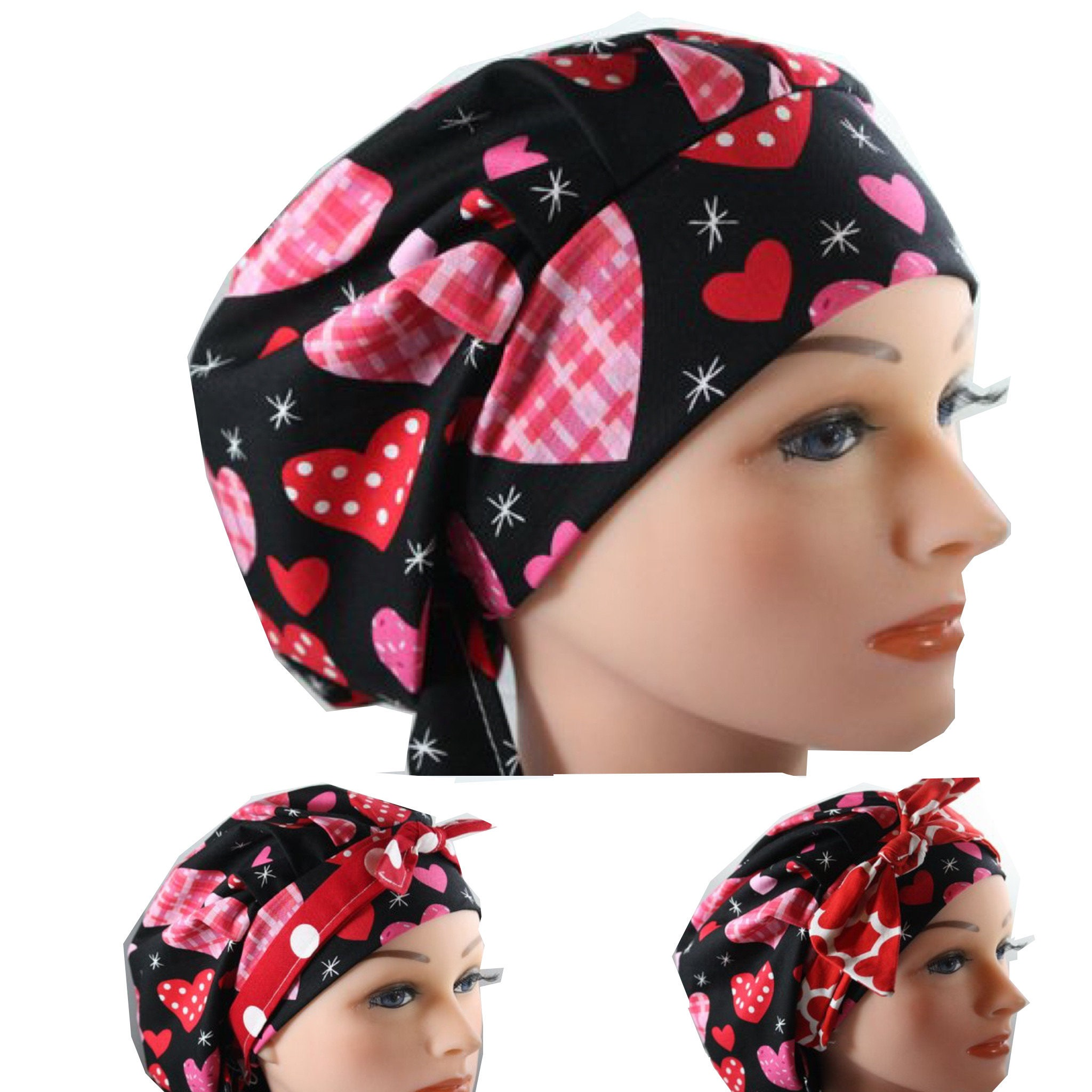 Red /& Pink Valentine Hearts 100/% Cotton Bouffant Style Scrub Hat//Cap Medical USA