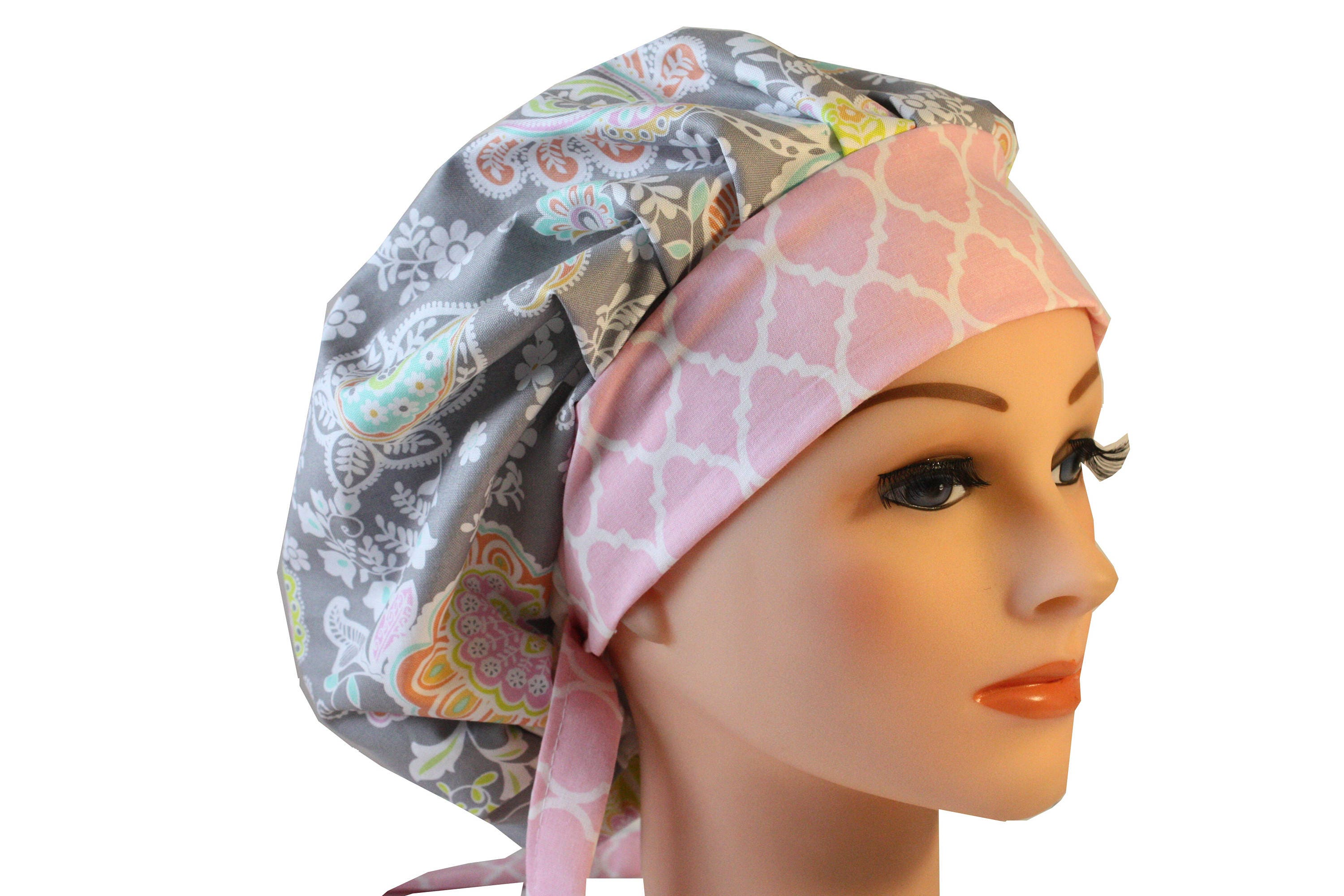 Scrub Cap Surgical Bouffant Hat Chef Dentist Tie Back Lacy