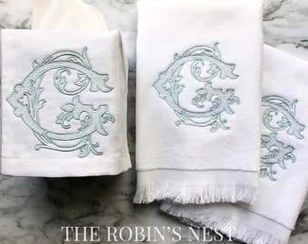Antique Double Monogrammed Fingertip Towels and monogrammed linen tissue cover | Embroidered Hand Towels | Embroidered Linen Tissue Cover