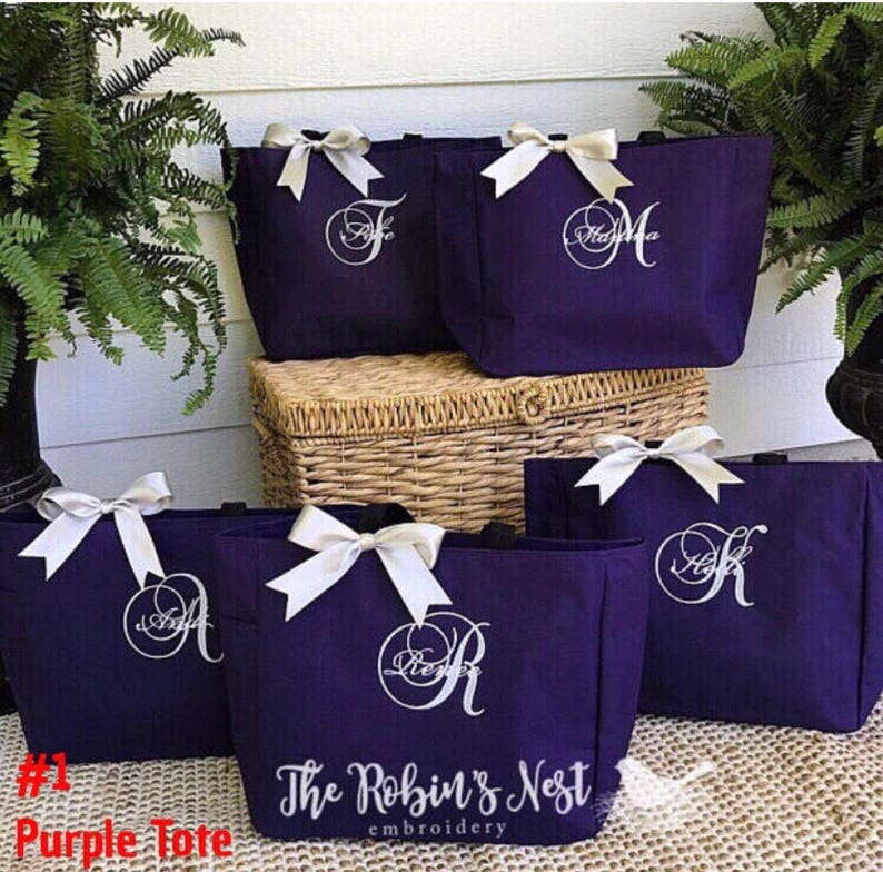 Bridal Party Tote Bags Monogrammed Embroidered  Bridesmaids image 0