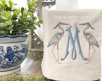 Monogrammed blue heron linen square tissue box cover embroidered | Egret linen tissue box Cover