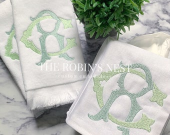 Monogrammed Fingertip Towels Embroidered | Monogrammed Linen Tissue Cover | Bathroom | Powder Room | Double Monogram | Double Initial