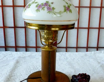 Vintage Handmade Wood Table Lamp With Hand Painted Glass Lamp Shade