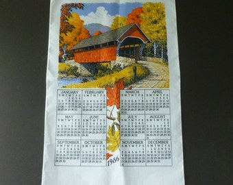Vintage 1986 Calendar Kitchen Tea Towel with Covered Bridge in Fall Colors Print