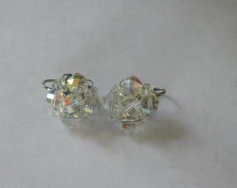 Earrings~Aurora Borealis Beads~Clip Ons~ Laguna
