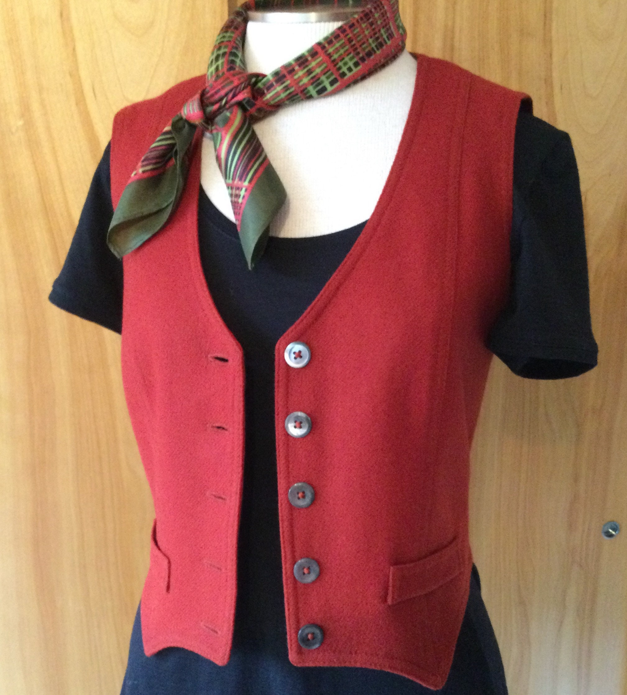 Vintage Scarf Styles -1920s to 1960s Mid Century Wool Fitted Vest Bronson Orange Red Excellent Condition Lined Small 46 Sixties $5.50 AT vintagedancer.com