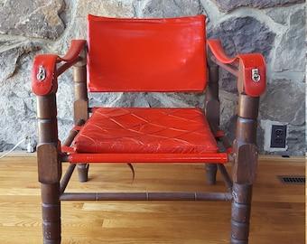 SALE ++ Vintage Red Leather Sling Safari Chair Arne Norell Safari Sirocco  Style Mediterranean Spanish   Mid Century Modern Sling Chair