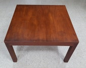 Mid-century Modern Walnut Square Parsons Coffee Table - Beautiful Patina