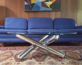 Lower price - In the manner of Milo Baughman Chrome and Glass JAX style coffee table