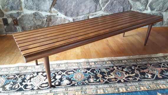 Pleasing Mid Century Modern George Nelson Style Slatted Coffee Table Bench Theyellowbook Wood Chair Design Ideas Theyellowbookinfo