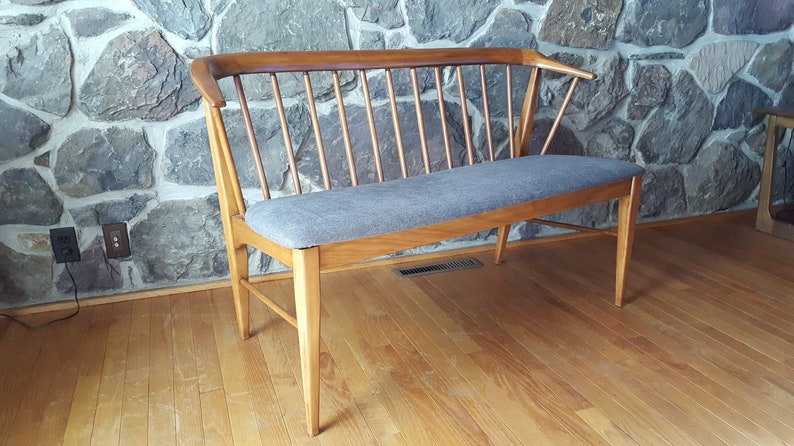 Wondrous Mid Century Modern Spindle Bench With New Grey Upholstered Seat Forskolin Free Trial Chair Design Images Forskolin Free Trialorg