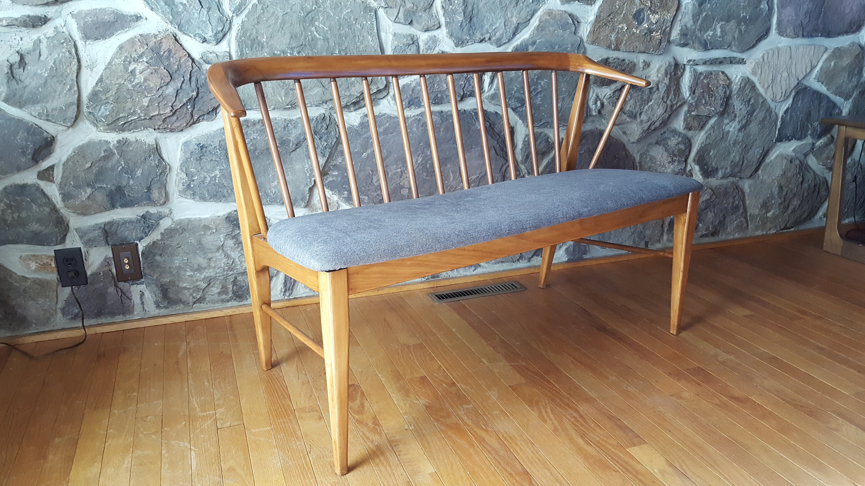 Mid Century Modern Spindle Bench With New Grey Upholstered Seat