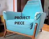 Mid-century Modern Project Chair, Atomic Lounge Chair, Vintage Easy Chair - Solid Walnut Legs Space Age Shape