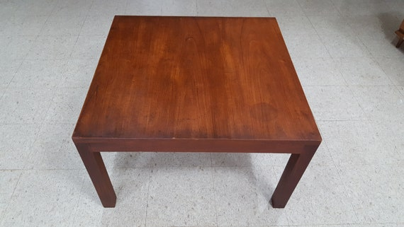 Mid Century Modern Walnut Square Parsons Coffee Table Etsy