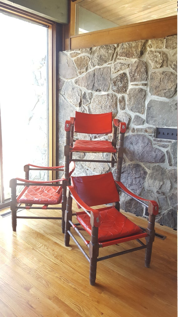 SALE Vintage Red Leather Sling Safari Chair Arne Norell   Etsy