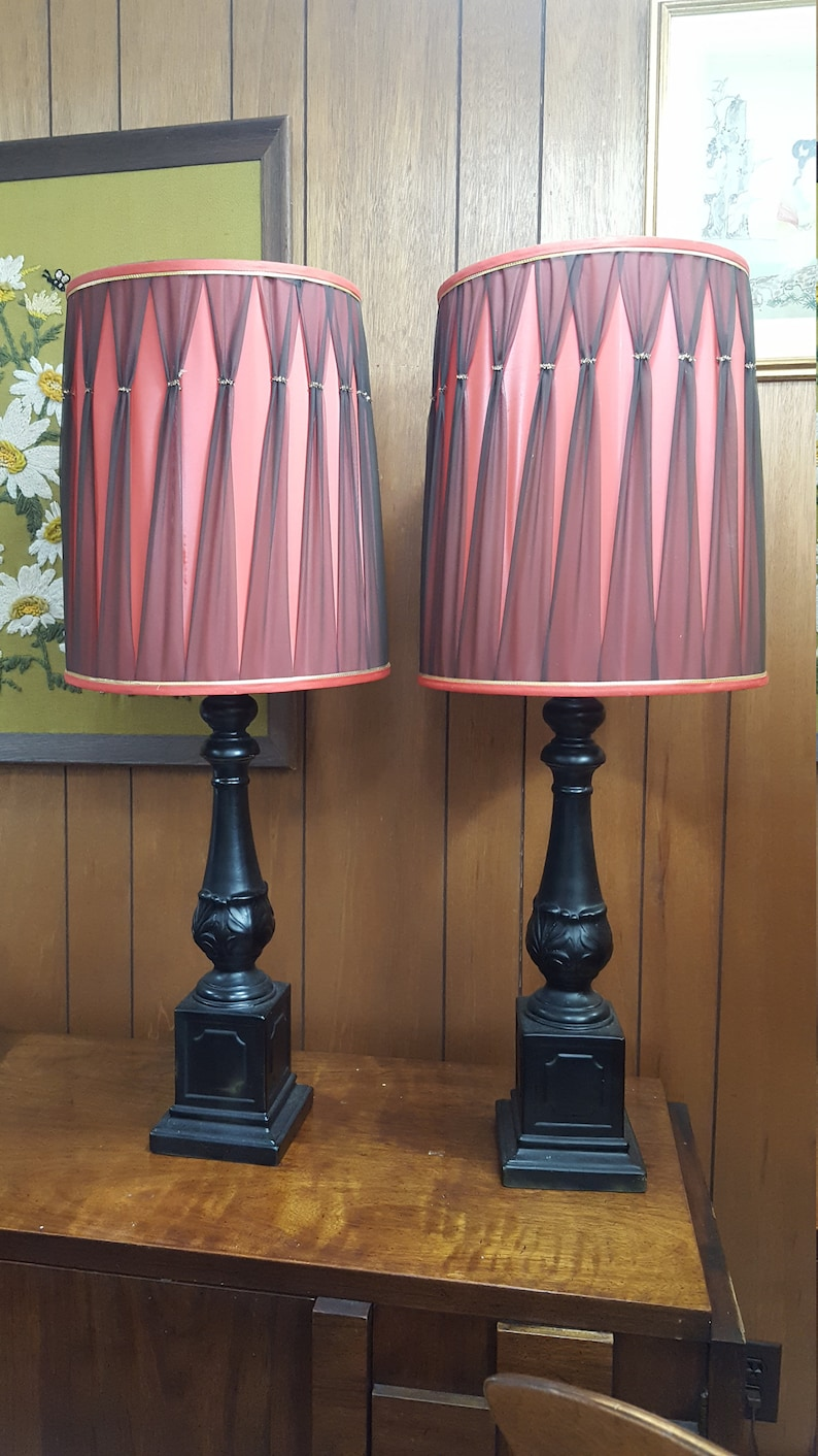 Pair Of Funky Vintage Black Lamps With Red Shades