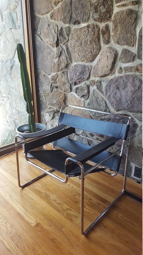 Wassily Style Bauhaus Black Leather Sling And Chrome Lounge | Etsy