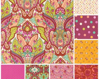 Tula Pink Fabric Slow & Steady ORANGE Pinks 8 PC Collection for FreeSpirit Fabric  - 100 % Quality Cotton -8 pc FQ yd Bundle