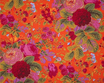 Kaffe Fassett Fabric - Gradi Flora PWPJ 053 Orange and Pinks Tomato Phillip Jacobs - R139 100% Quality Cotton OOP and Rare Yardage