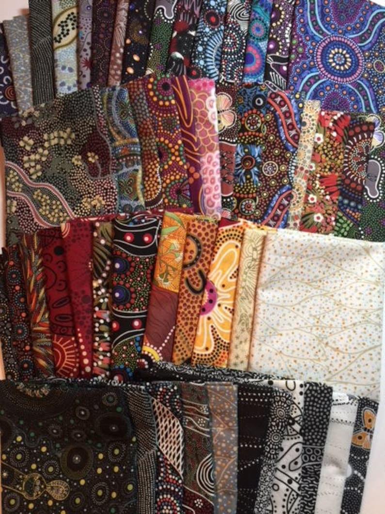 Australian Fabric FQ Bundle 54 pc Ultimate Australian Dream Aboriginal Stunning Complete Stash Builder 100/% Quality Cotton 54 PC FQ Bundle