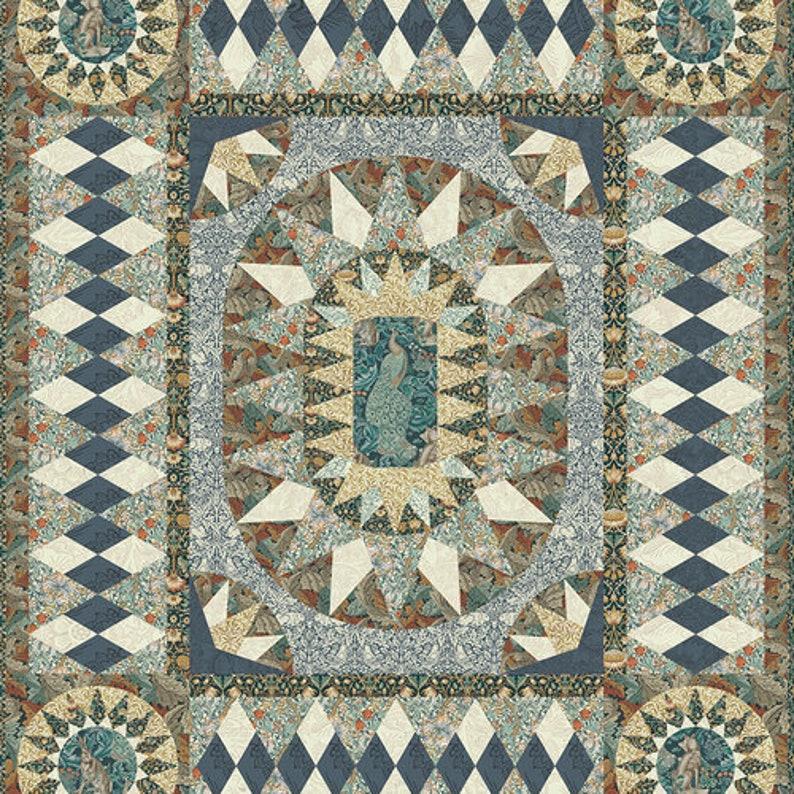 100/% Cotton 68x80 Quilt Kit William Morris Fabric Morris Menagerie-Plum Standen Quilt Kit by Robin Ruth Design Compass Rose Pattern