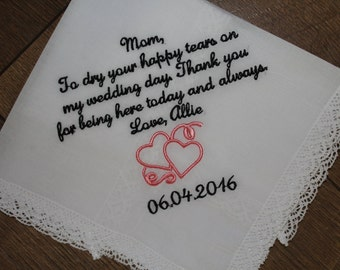 Embroidered hankerchief - personalized hankerchief - mother of the bride hankerchief