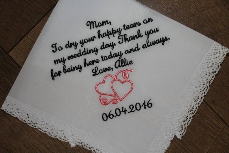 Wedding handkerchief Mother of bride gift hankerchief wedding gift for parent