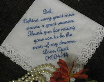 Mother Of The Groom Custom Wedding Handkerchief Personalized Embroidered - Thank you for raising your son- Wedding - Hanky - Hankie
