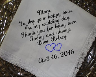 Embroidered Hankerchief for Mother of Bride Handkerchief personalized - mother of bride gift - Step mom, aunt, grandma
