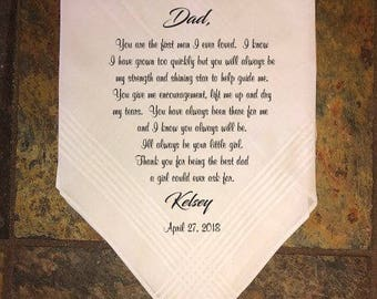 Father of the bride handkerchief father of the bride gift wedding handkerchief printed handkerchief gifts for parents