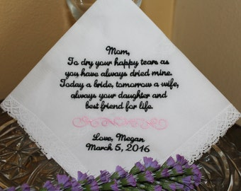 Mother of The Bride Handkerchief - Dry your tears- Hankie - Hanky Mother of the Bride Hankerchief