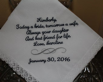 Embroidered Wedding Handkerchief - Mother of The Bride Gift Hankerchief - Mom Hankie - gift for mother - wedding gift