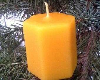 Beeswax Votive Hexagon Woodgrain Candles