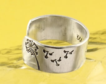 Dandelion Ring - Wish Ring - Adjustable Ring - Graduation Gift - Silver Ring - Gift for Graduate - Flower Ring - Wish Jewelry - Make A Wish
