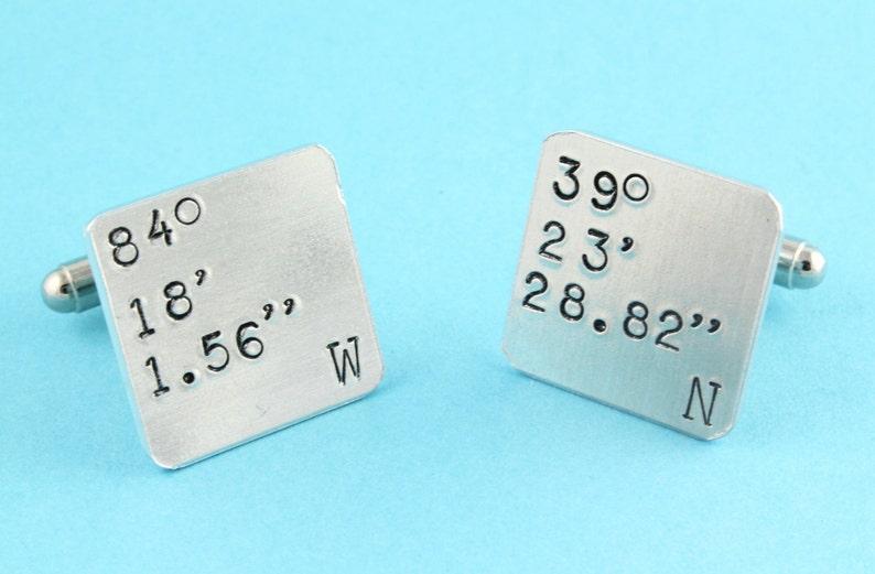 Address Cufflinks Personalized Cufflinks Latitude and Longitude Cufflinks Square Cufflinks Coordinate Cufflinks GPS Cufflinks