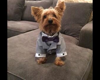 d364de62421 Gray Dog Tuxedo and Satin Shirt  Custom bow tie colors available
