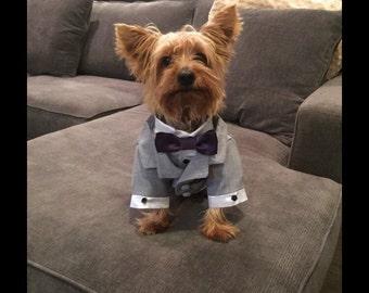 Gray Dog Tuxedo and Satin Shirt /Custom bow tie colors available