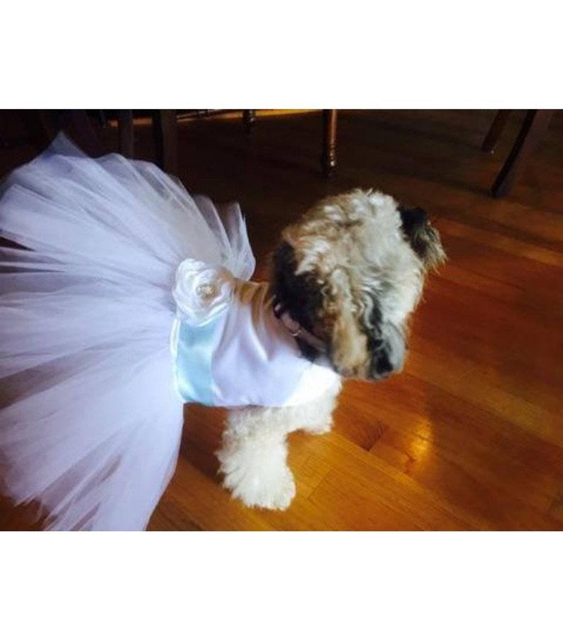 custom sash colors available Ivory or White Wedding Dog Dress