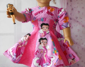 """BETTY BOOP American Girl doll 18"""" Dress P.V.C. Figure Included Cotton Fabrics Handmade FIGURE Included Bloomers  Hidden Pocket"""