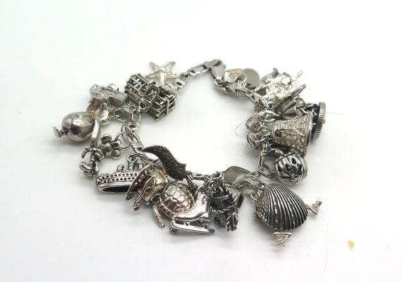 Vintage Sterling Silver Charm Bracelet Loaded