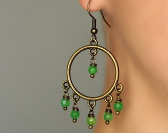 Green Agate Stone Earrings Brass Round Chandelier Earrings Long Circle Earrings Boho Green Earrings Unique Hippie Tribal Brass Dangle Gift