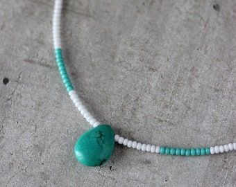 White Seed Bead Necklace with Turquoise Stone Bead Turquoise Drop Pendant Unique White Turquoise Necklace Trendy Everyday  Gemstone Necklace