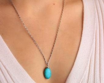 Turquoise Stone Necklace Oval Blue Gemstone Necklace Steel Chain Necklace Turquoise Pendant Unique Stone Necklace Silver Turquoise Necklace
