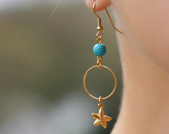 Gold Tone Turquoise and Starfish Earrings Gold Starfish Earrings Gold Blue Earrings Blue Gemstone Earrings Natural Turquoise Stone Earrings