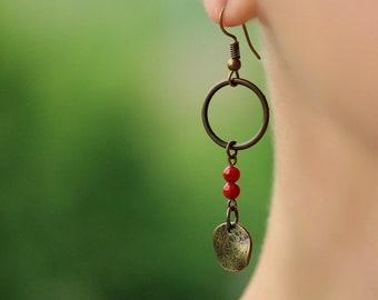 Red Coral Earrings Dangle Brass Earrings Natural Coral Jewelry Brass Earrings Coral Beaded Earrings Brass Boho Earring Brass Jewerly for Her