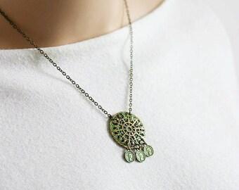 Boho Brass Necklace Patina Necklace Green Patina Necklace Patina Jewelry Coin Necklace Brass Ethnic Necklace Ethnic Jewelry Unique Jewelry