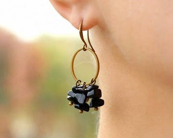 Black Onyx Earrings Black Brass Earrings Dangle Beaded Earrings Small Hoop Earrings Agate Earrings Semiprecious Stone Earrings Hoop Earrings