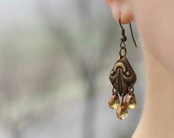 Brass Boho Earrings Chandelier Earrings Bronze Tone Earrings Hippie Earrings Chandelier Brown Drop Earrings Boho Earrings Unique Earrings