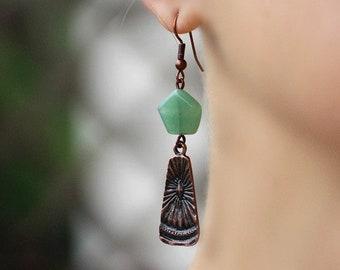 Green Agate Earrings Copper Earrings Green Earrings Copper Dangle Earrings Gemstone Earrings Boho Earrings Copper Boho Jewerly Agate Jewelry